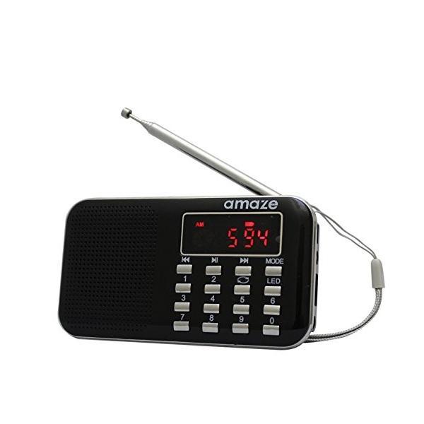 充電式多機能AM/FMポケットラジオーアメイズ? USB・microSD対応 ブラック