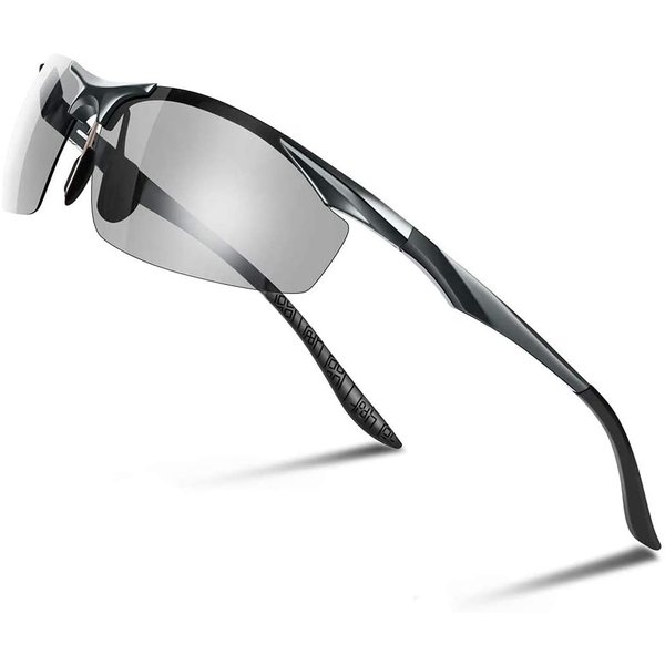 Glazata 変色調光サングラス 偏光レンズ ハーフフレーム 超軽量 UV400 紫外線カット 偏光サングラス 自転車釣り野球テニススキー totasu888