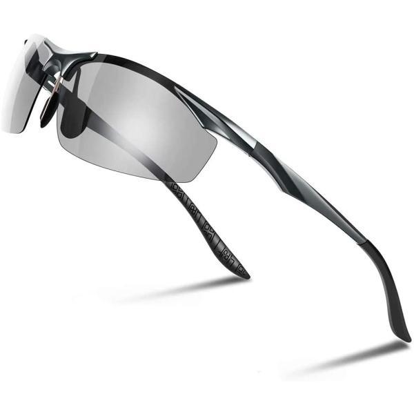 Glazata 変色調光サングラス 偏光レンズ ハーフフレーム 超軽量 UV400 紫外線カット 偏光サングラス 自転車釣り野球テニススキー totasu888 06