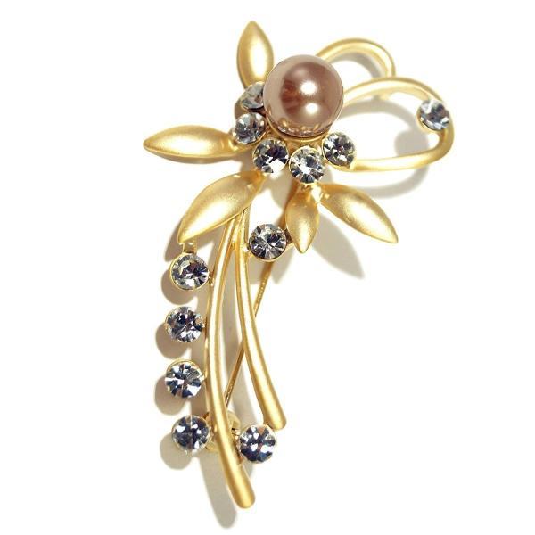 C-GIRLS真珠屋 冠婚葬祭 真珠 ブローチ 花珠級貝パールブローチ 水晶 花 フラワー 母の日 七五三結婚式ウエディング 2色から選べる