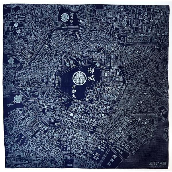 江戸古地図バンダナNEW 紺 totemap 02