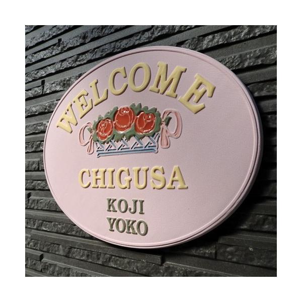 表札 戸建 おしゃれ 凸文字 陶器 手作り タイル 薔薇 凸文字 ピンク 楕円のばらのバスケット K8-1 サイズ:約190×250×7mm touban-art 06