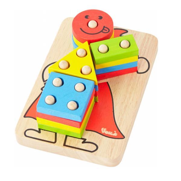 木製玩具 木のおもちゃ パズル 組み合わせ 知育 Voila ボイラ カラフルクラウン 【ラッピング対応】 tougenkyou