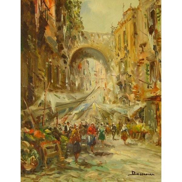 ヨーロッパ絵画 油絵 肉筆絵画 壁掛け (額縁 アートフレーム付きで納品対応可) サイズF6号 ディモニ作 「パリの街角」 touo