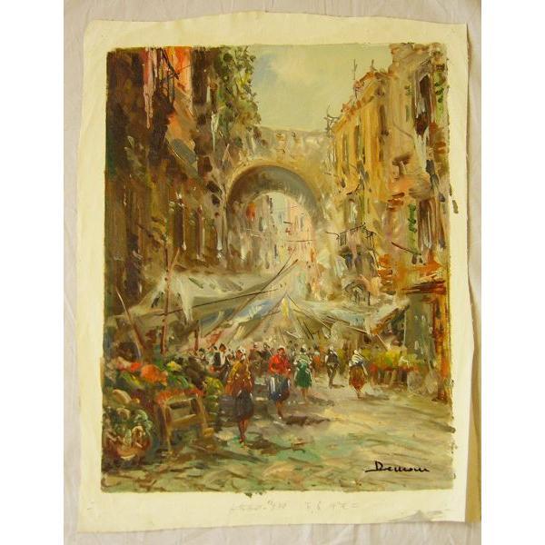 ヨーロッパ絵画 油絵 肉筆絵画 壁掛け (額縁 アートフレーム付きで納品対応可) サイズF6号 ディモニ作 「パリの街角」 touo 02