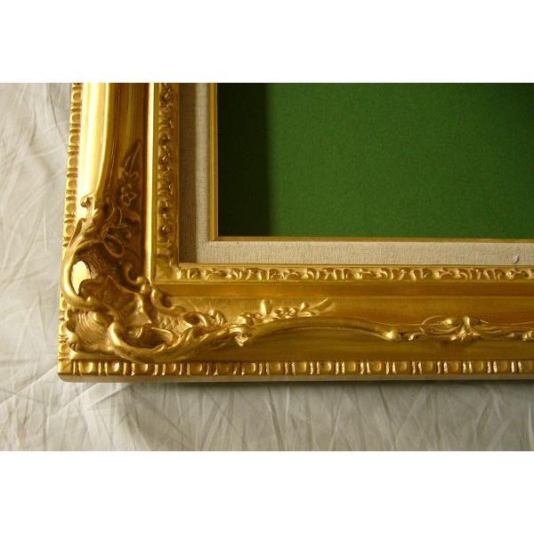 額縁 油絵額縁 油彩額縁 木製フレーム アクリル付 7840 サイズF6号|touo|02