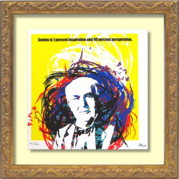 絵画 インテリア キャンバスアート 壁掛け 額縁付き DH はり作 「Thomas Alva Edison」|touo