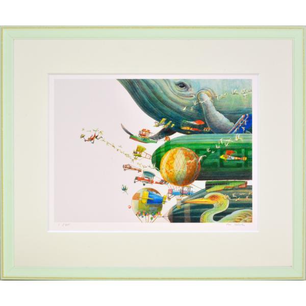 絵画 リトグラフ インテリア 壁掛け (額縁 アートフレーム付き) 堀 乃布子作 「航路は霧」 四ツ切サイズ|touo