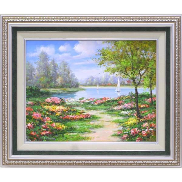 絵画 油絵 肉筆絵画 壁掛け (額縁 アートフレーム付き)サイズF6号 「花畑に彩られて2」 モリンガ 9586 F6 Sグリーン touo