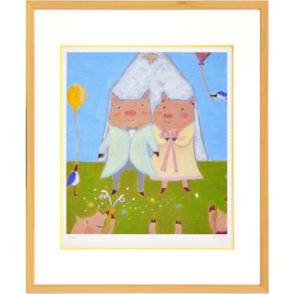 絵画 リトグラフ インテリア 壁掛け (額縁 アートフレーム付き) まつもととしこ作 「結婚式」 四ッ切サイズ|touo