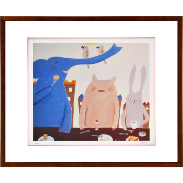 絵画 リトグラフ インテリア 壁掛け (額縁 アートフレーム付き) まつもととしこ作 「スマイルエクスプレス」 四ッ切サイズ|touo