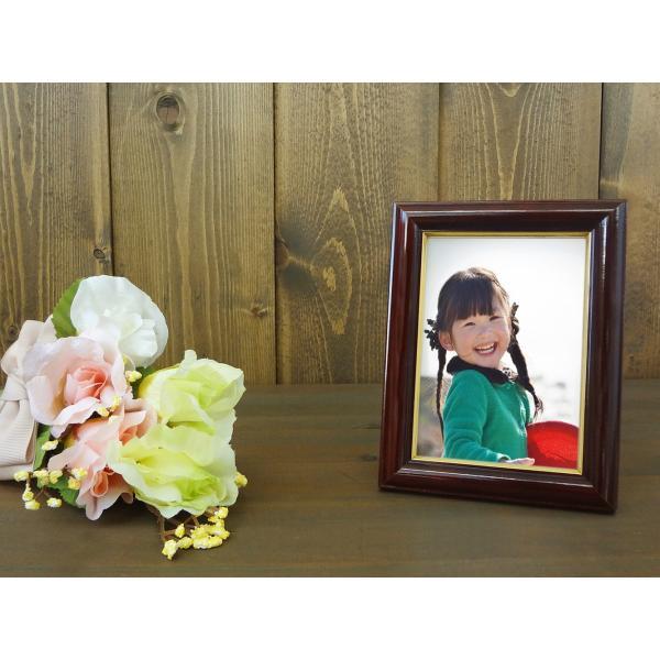 額縁 フォトフレーム 写真立て 木製フレーム C018 L マホガニ|touo|05