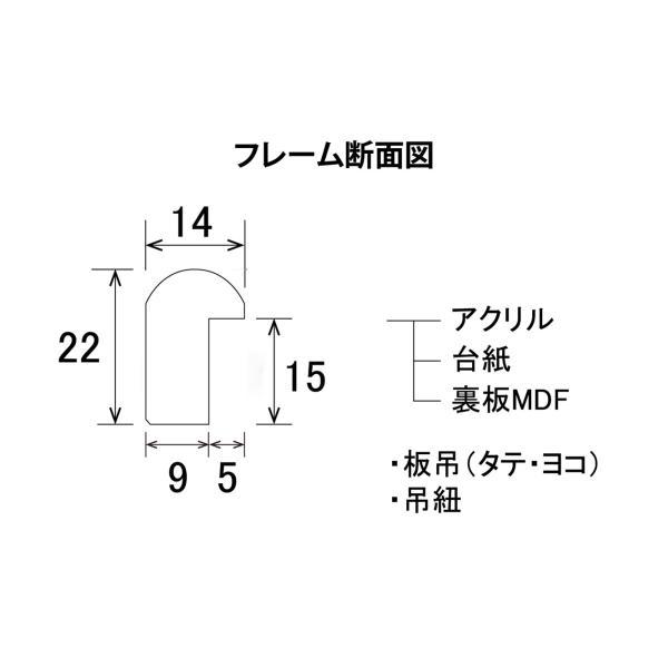 額縁 デッサン縁 木製フレーム MM-02 ブラック 箱入 八ッ切サイズ|touo|04
