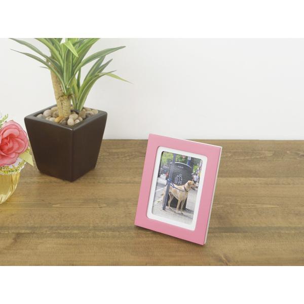 額縁 フォトフレーム 写真立て 木製フレーム フォト コロル カード A-7 レッド/クリーム touo 04