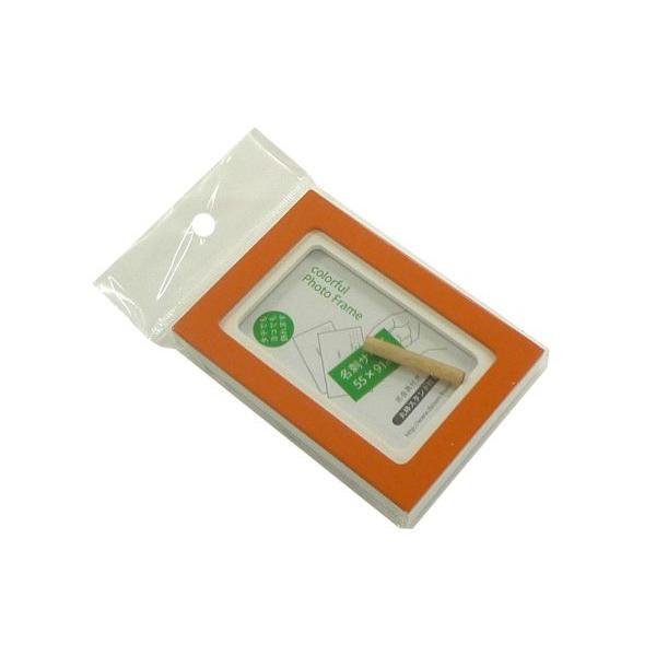額縁 フォトフレーム 写真立て 木製フレーム フォト コロル 名刺 A-1 オレンジ/ホワイト touo 02
