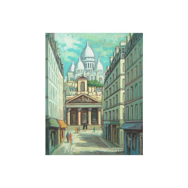 ヨーロッパ絵画 油絵 肉筆絵画 壁掛け (額縁 アートフレーム付きで納品対応可) サイズF6号 レミー作 「パリの街角」 touo