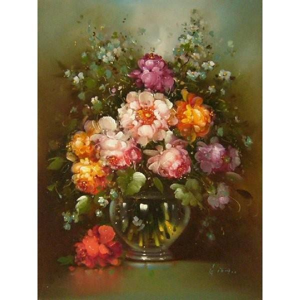 ヨーロッパ絵画 油絵 肉筆絵画 壁掛け (額縁 アートフレーム付きで納品対応可) サイズF6号 ギッタ作 「花瓶の花束」|touo