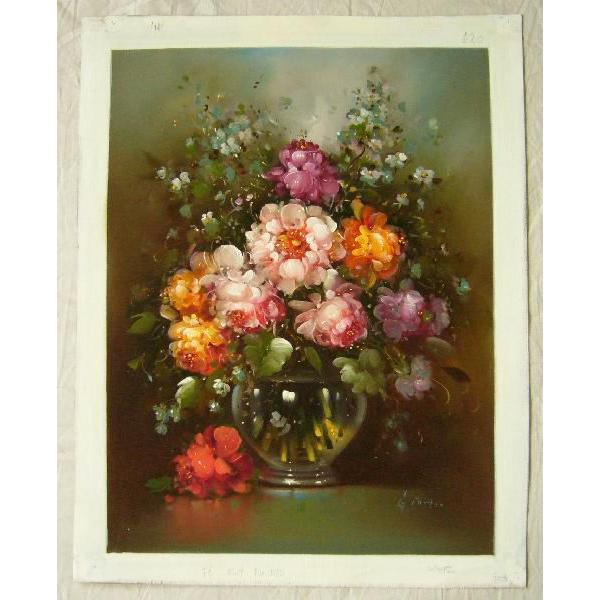 ヨーロッパ絵画 油絵 肉筆絵画 壁掛け (額縁 アートフレーム付きで納品対応可) サイズF6号 ギッタ作 「花瓶の花束」|touo|02