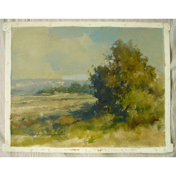 ヨーロッパ絵画 油絵 肉筆絵画 壁掛け (額縁 アートフレーム付きで納品対応可) サイズF6号 ロンバルド作 「丘」 touo 02