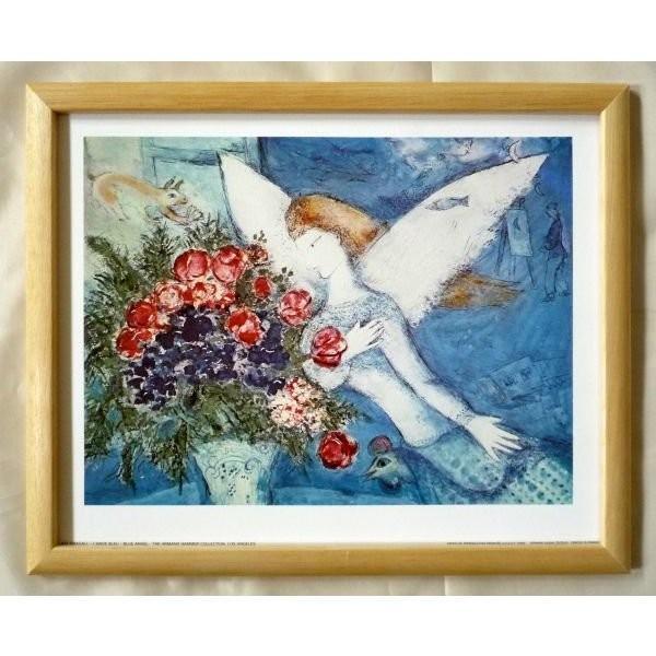 絵画 インテリア アートポスター 壁掛け ヨーロッパ製 (額縁 アートフレーム付き) サイズ八ッ切 Chagall「Blue Angel」|touo