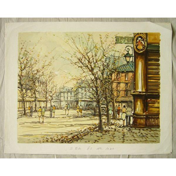 ヨーロッパ絵画 油絵 肉筆絵画 壁掛け (額縁 アートフレーム付きで納品対応可) サイズF6号 ニカル作 「パリの街角」|touo|02
