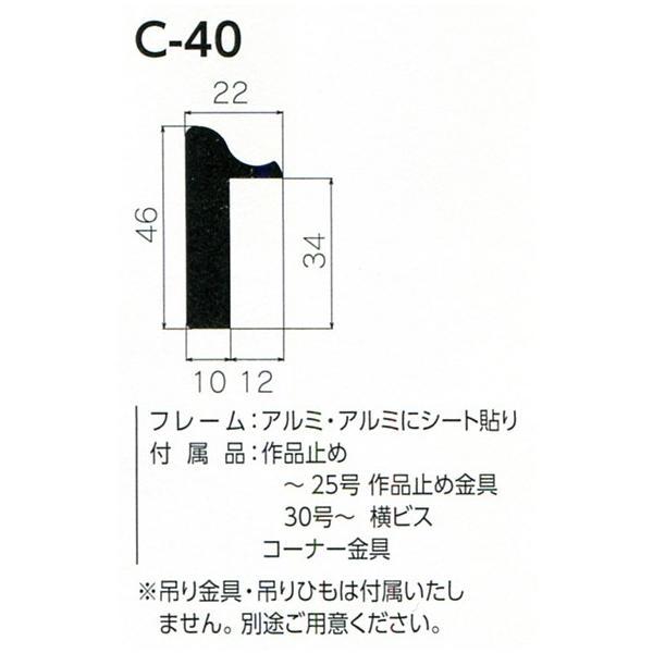 仮縁 正方形の額 アルミフレーム C-40 サイズS4号|touo|02