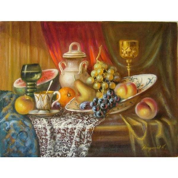 ヨーロッパ絵画 油絵 肉筆絵画 壁掛け (額縁 アートフレーム付きで納品対応可) サイズF6号 レインプレヒト作 「静物」 touo