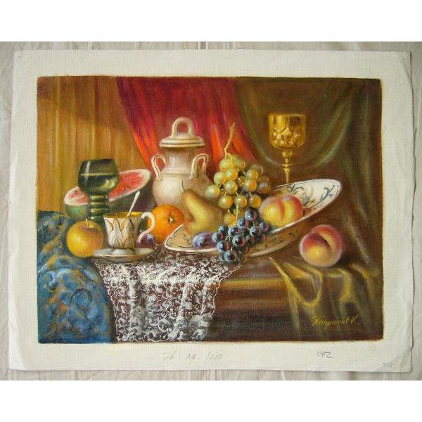 ヨーロッパ絵画 油絵 肉筆絵画 壁掛け (額縁 アートフレーム付きで納品対応可) サイズF6号 レインプレヒト作 「静物」 touo 02