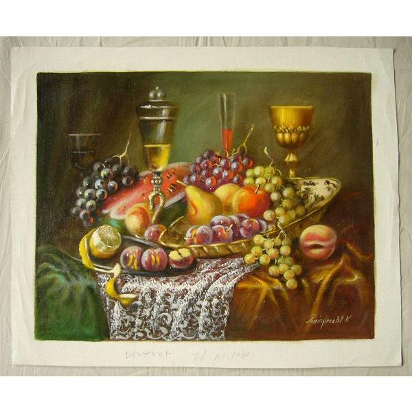 ヨーロッパ絵画 油絵 肉筆絵画 壁掛け (額縁 アートフレーム付きで納品対応可) サイズF6号 レインプレヒト作 「静物」|touo|02