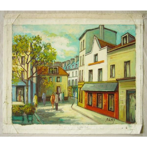 ヨーロッパ絵画 油絵 肉筆絵画 壁掛け (額縁 アートフレーム付きで納品対応可) サイズF6号 レミー作 「パリの街角」|touo|02
