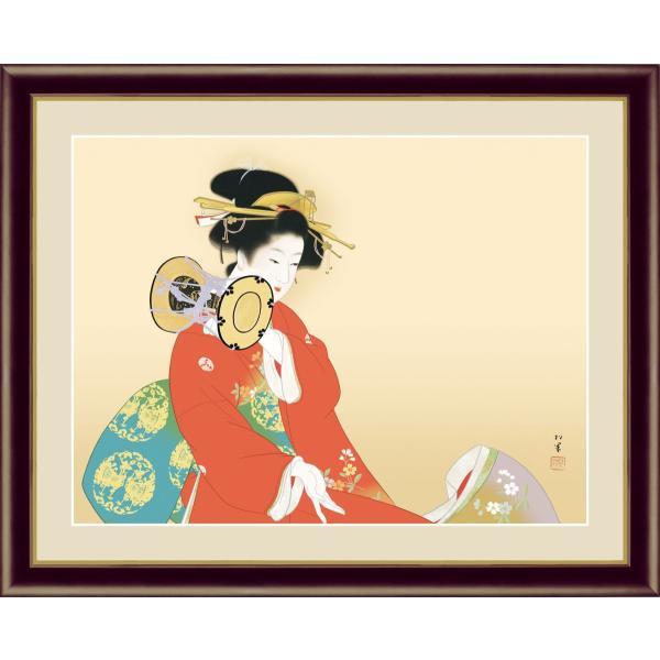 絵画 高精細デジタル版画 インテリア 壁掛け 額縁付き 名画 上村 松園 「鼓の音」 F6|touo