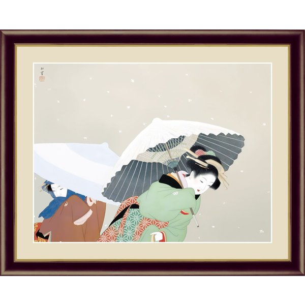 絵画 高精細デジタル版画 インテリア 壁掛け 額縁付き 名画 上村 松園 「牡丹雪」 F6|touo