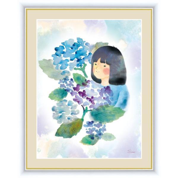 絵画 高精細デジタル版画 インテリア 壁掛け 額縁付き 榎本 早織作 「紫陽花と少女」 F4 touo
