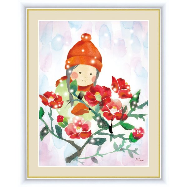 絵画 高精細デジタル版画 インテリア 壁掛け 額縁付き 榎本 早織作 「椿と少女」 写真立て仕様|touo