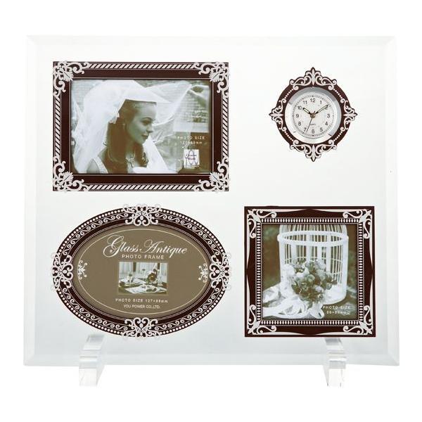 額縁 フォトフレーム 写真立て グラス アンティーク フォト「3ウィンドー&クロック(ブラウン&シルバー)」|touo