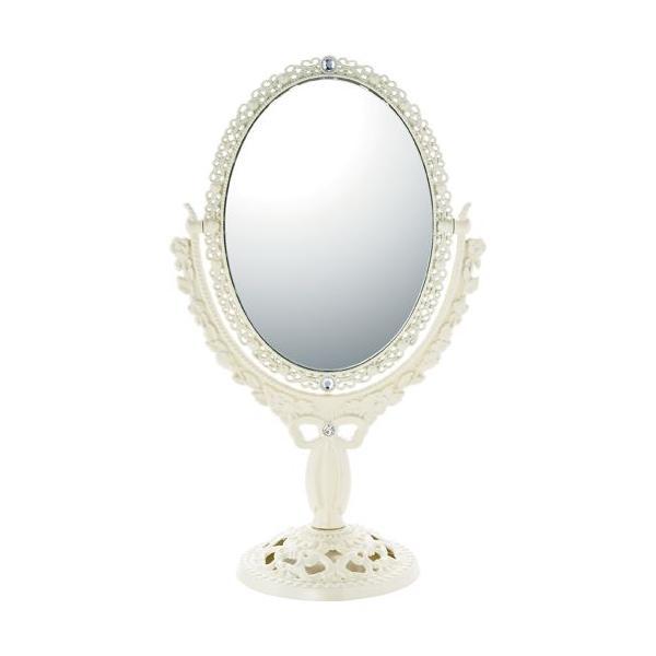 インテリア 鏡 ガーリーロザ オーバルロングスタンドミラー「アイボリー」|touo
