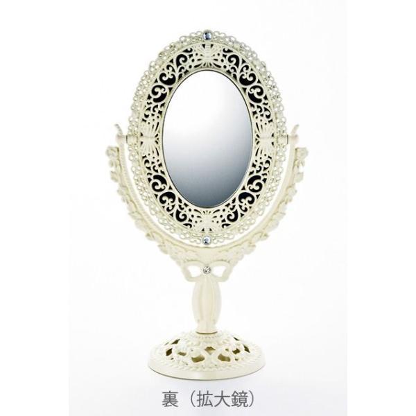 インテリア 鏡 ガーリーロザ オーバルロングスタンドミラー「アイボリー」|touo|03