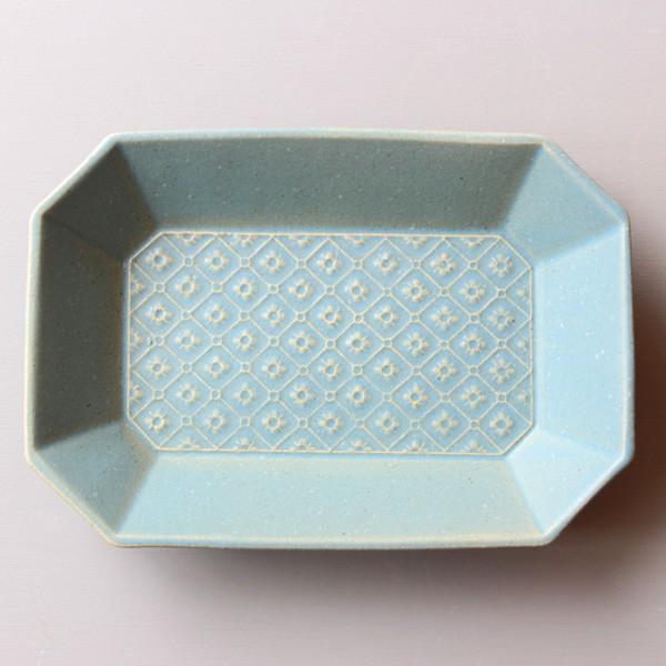 よしざわ窯 益子焼  ブルーグレー 隅切長方皿 flower pattern 大皿