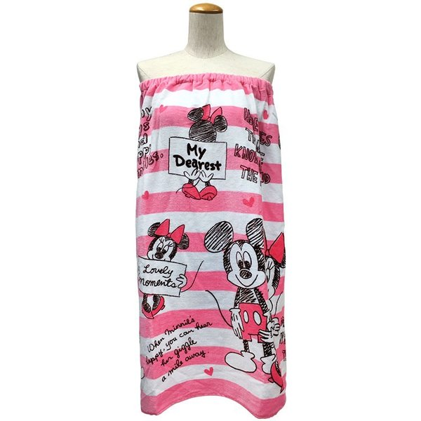 ラップタオル  マキタオル Lサイズ  ドロップ ミッキー&ミニー  水泳用品 プール バスタオル ワンピース サウナ用タオル 約80×120cm