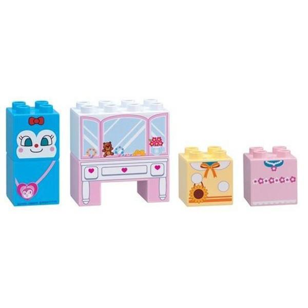 アンパンマン ブロックラボ はじめてブロックセット おしゃれドレッサーとコキンちゃんブロック|toy-manoa