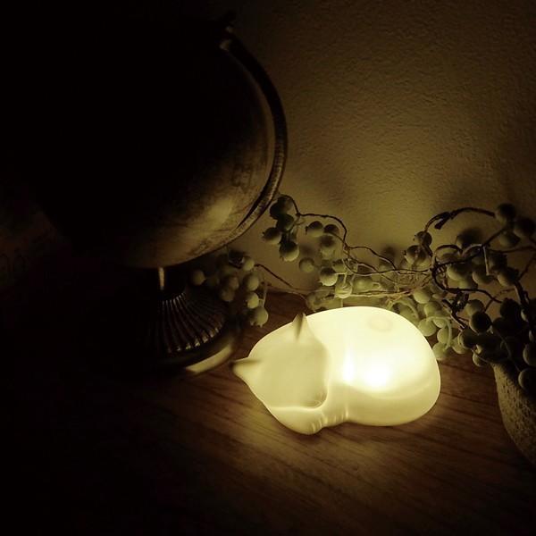 置き型ライト おしゃれ ねこ 陶器製 音感センサー LEDライト 間接照明 電池 ネルライトシリーズ ネルネコ 93990|toyocase-store|05