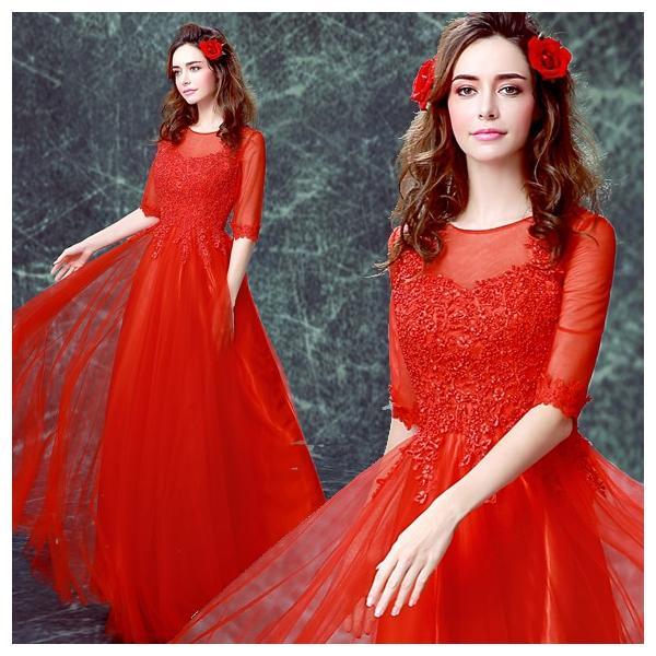 04709238b61eb カラードレス ロングドレス 安い パーティードレス 袖あり 演奏会 結婚式 イブニングドレス 二次会 ...