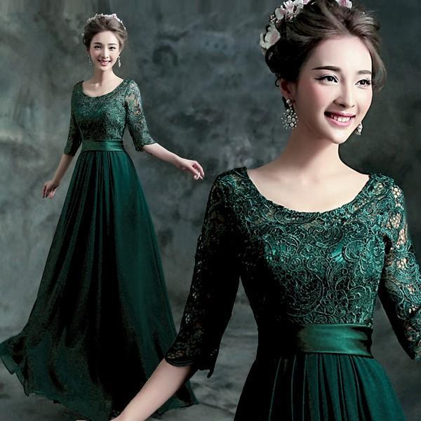 5252d8a5f189a カラードレス グリーン 安い ロングドレス 長袖 aラインドレス 演奏会 結婚式 イブニングドレス ...