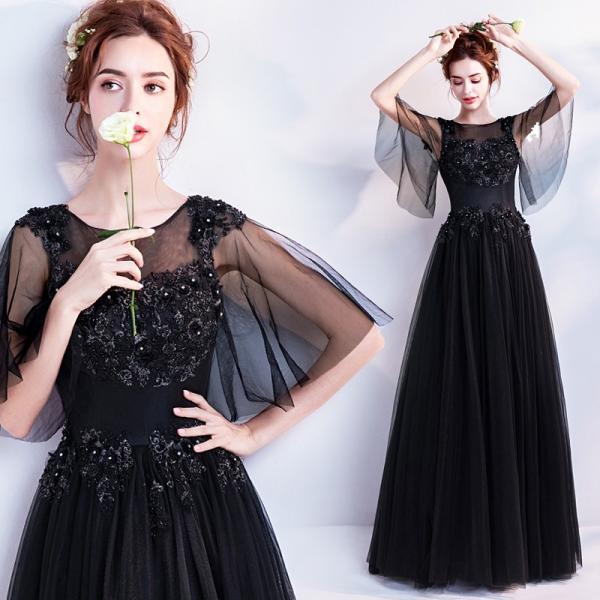 f2476b2ab69be カラードレス 黒 演奏会 安い 披露宴 ロングドレス 結婚式 イブニングドレス 二次会 花嫁 発表 ...