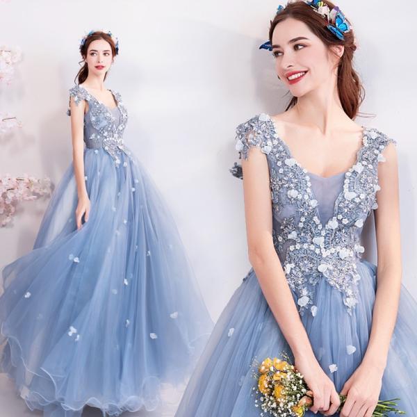 7316e354106fe カラードレス ブルー ロング 演奏会 結婚式 花嫁 ウエディングドレス 安い 披露宴 イブニングドレス 二次会 ...