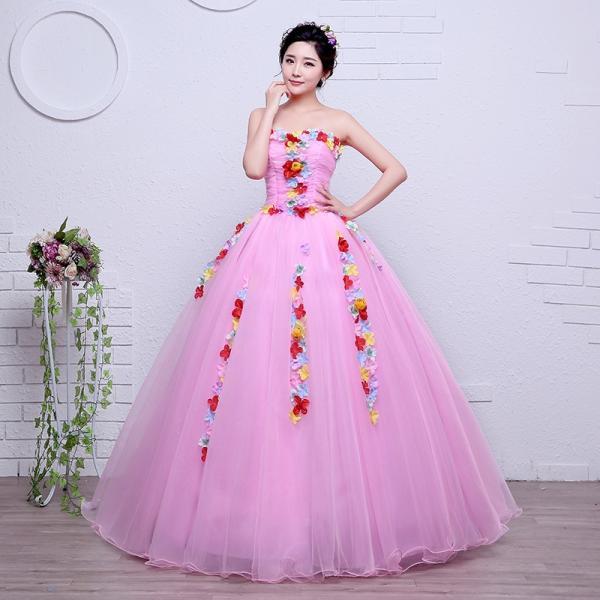 ff696c5deb30e 姫系 ウエディングドレス カラードレス ピンク 安い 結婚式 ロングドレス 演奏会 コンサート 二次会 ...