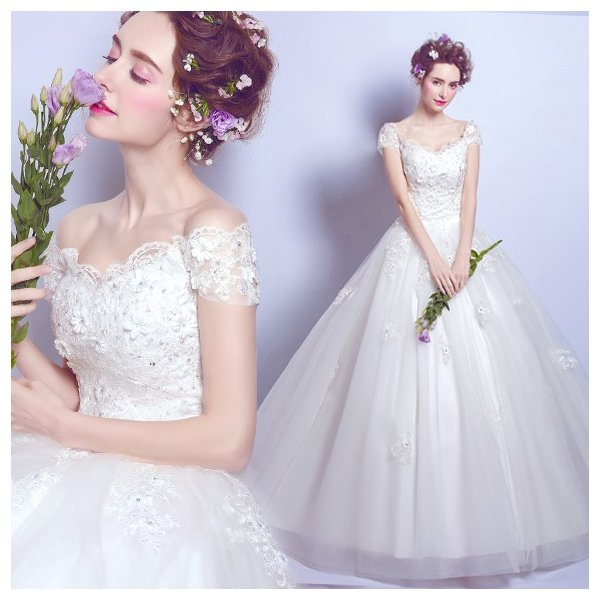 15196e95f2c71 ウエディングドレス 安い 二次会 ウェディングドレス 結婚式 プリンセスライン エンパイア 花嫁 プリンセス 披露宴 ロングドレス ...