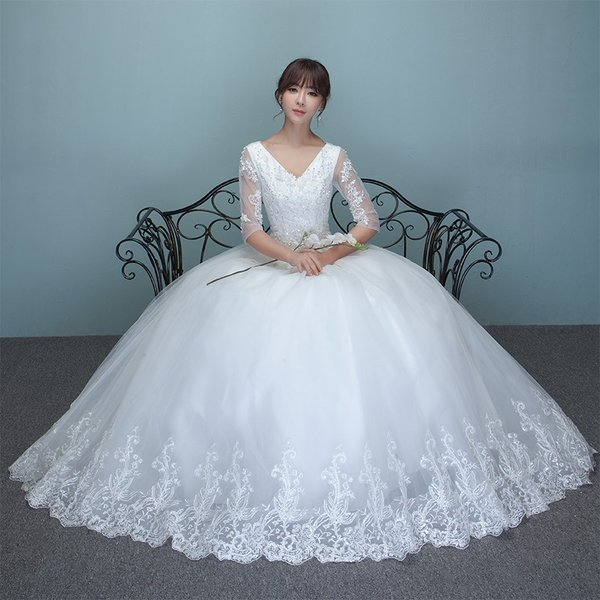4cb93528aa8d7 ウエディングドレス 長袖 安い 二次会 ウェディングドレス 結婚式 エンパイア 花嫁 ドレス 白 プリンセス 披露宴 ロング ...