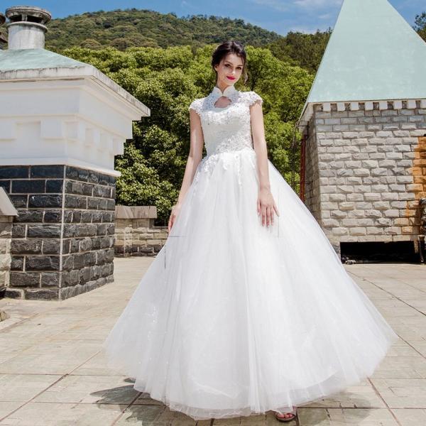 337fd449fe7a8 ウェディングドレス 安い 二次会 ウエディングドレス 結婚式 花嫁 ドレス 白 披露宴 ロングドレス ブライダル シンプル ...