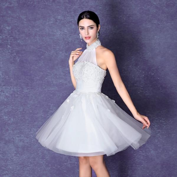 ce51bf6c5d9b1 ... ミニドレス 白 韓国 結婚式 二次会ドレス 披露宴 ウエディングミニドレス 安い 花嫁 ウェディングドレス ...